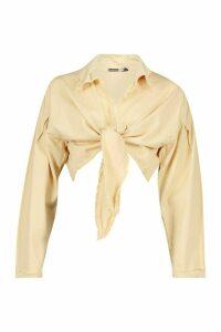 Womens Tie Front Denim Shirt - beige - 14, Beige