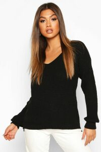 Womens Oversized V Neck Jumper - Black - S, Black