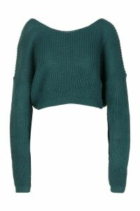 Womens V-Back Crop Jumper - green - S, Green