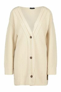 Womens Button Through Cable Knit Cardigan - beige - M, Beige