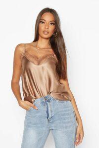 Womens Lace Trim Side Split Cami - brown - 14, Brown