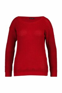 Womens Plus Waffle Slash Neck Jumper - red - 20, Red