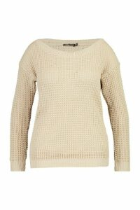 Womens Plus Waffle Slash Neck Jumper - beige - 20, Beige