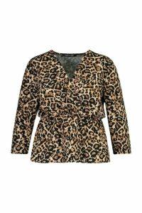 Womens Plus Leopard Wrap Front Blouse - brown - 20, Brown