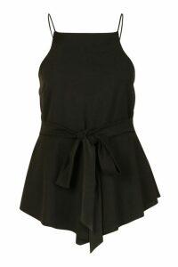 Womens Plus Crepe Tie Front Asymmetric Top - black - 28, Black