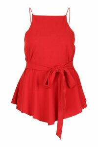 Womens Plus Crepe Tie Front Asymmetric Top - red - 24, Red