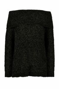Womens Fisherman Rib Off The Shoulder Jumper - black - XS, Black