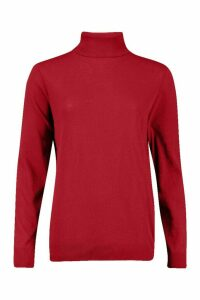Womens Recycled Roll Neck Jumper - Red - 22/24, Red
