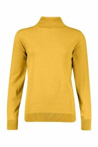 Womens Recycled Roll Neck Jumper - Yellow - 14/16, Yellow
