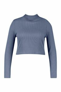 Womens Recycled Roll Neck Rib Crop Jumper - blue - 8, Blue