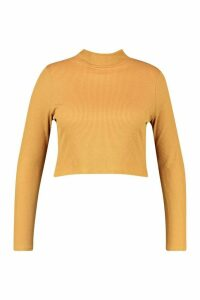 Womens Recycled Roll Neck Rib Crop Jumper - brown - 20, Brown