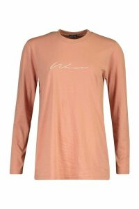 Womens Woman Embroidered Long Sleeve T-Shirt - pink - 14, Pink