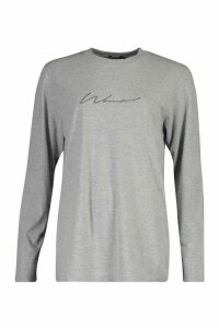 Womens Woman Embroidered Long Sleeve T-Shirt - grey - 16, Grey