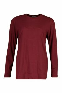 Womens Woman Embroidered Long Sleeve T-Shirt - 16, Red
