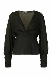 Womens Gathered Cuff Split Sleeve Top - black - 12, Black