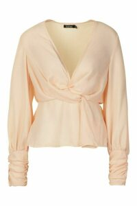 Womens Gathered Cuff Split Sleeve Top - beige - 6, Beige