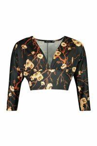 Womens Deep V Front Batwing Top In Oriental Flower - multi - 8, Multi