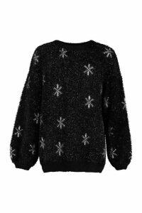 Womens Oversized Feather Tinsel Snowflake Jumper - black - M, Black