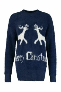 Womens Oversized Fluffy Knit Merry Christmas Jumper - navy - S, Navy
