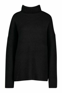Womens Roll Neck Knitted Jumper - black - M/L, Black