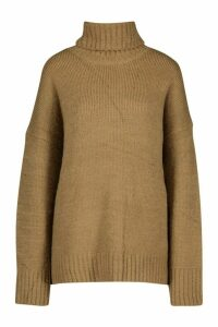Womens Roll Neck Knitted Jumper - beige - M/L, Beige