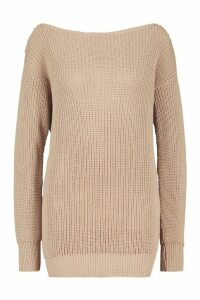 Womens Slash Neck Fisherman Jumper - beige - XS, Beige