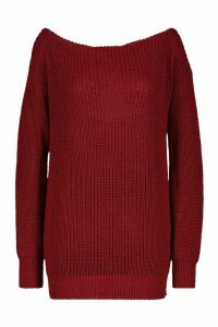 Womens Slash Neck Fisherman Jumper - red - L, Red