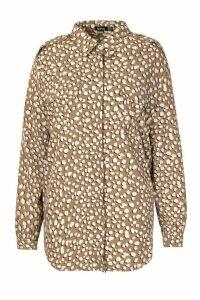 Womens Plus Smudge Dalmatian Spot Utility Shirt - beige - 24, Beige
