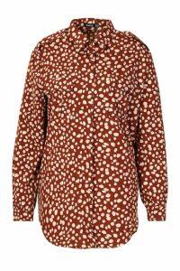 Womens Plus Smudge Dalmatian Spot Utility Shirt - brown - 22, Brown