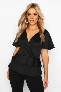 Womens Plus Wrap Over Cap Sleeve Scuba Peplum Top - black - 24, Black