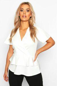 Womens Plus Wrap Over Cap Sleeve Scuba Peplum Top - white - 24, White