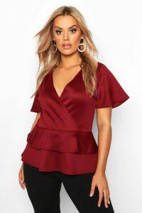 Womens Plus Wrap Over Cap Sleeve Scuba Peplum Top - red - 26, Red
