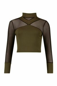 Womens Cross Front Mesh Long Sleeve Crop Top - green - 8, Green