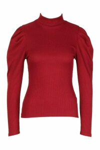 Womens High Neck Puff Sleeve Ribbed Top - red - 10, Red