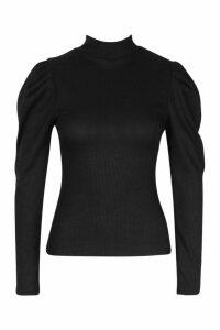 Womens High Neck Puff Sleeve Ribbed Top - black - 10, Black