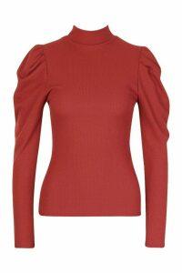 Womens High Neck Puff Sleeve Ribbed Top - orange - 14, Orange