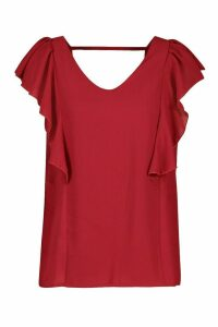 Womens Ruffle Sleeve Wrap Back Top - red - 10, Red