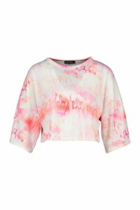 Womens Tie Dye Oversized Cropped T-shirt - white - 16, White