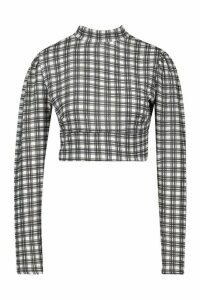 Womens Checked Open Back Long Sleeve Top - white - 6, White