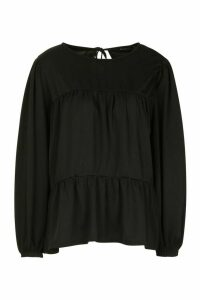 Womens Crepe Tierred Smock Top - black - 12, Black