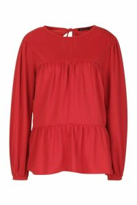 Womens Crepe Tierred Smock Top - 12, Red