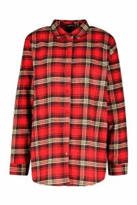 Womens Oversized Brushed Check Boyfriend T-Shirt - red - 16, Red