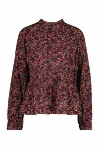 Womens Ditsy Floral Ruffle Top - red - 16, Red