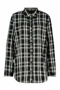 Womens Oversized Check Boyfriend Shirt - black - 10, Black
