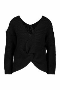 Womens Twist Knot Front Jumpers - black - L, Black