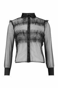 Womens Glitter Organza Mesh Frill Shirt - black - 12, Black
