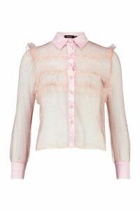 Womens Glitter Organza Mesh Frill Shirt - Pink - 14, Pink
