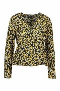 Womens Duty Print Twist Front Blouse - navy - 10, Navy