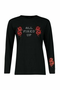 Womens All Fired Up Long Sleeve T-Shirt With Cuff Print - black - L, Black
