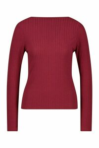 Womens Ribbed Crew Neck Long Sleeve Top - red - 12, Red